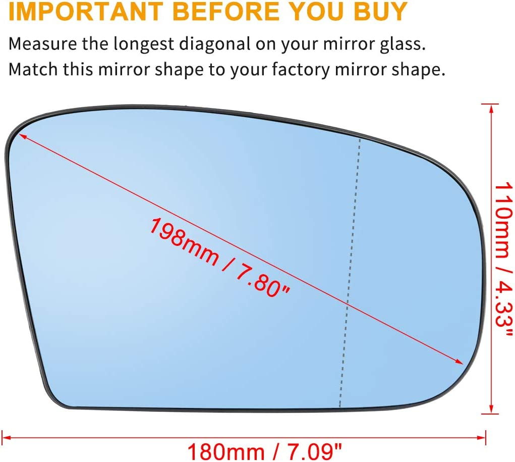 X AUTOHAUX Car Passenger Right Rearview Mirror Glass Heated with Backing Plate for Mercedes-Benz S430 2000-2003