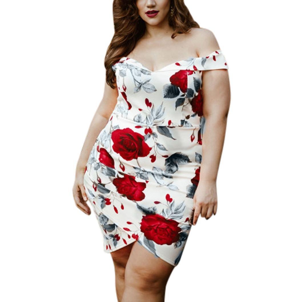 17ad98b037a6b Amazon.com  Minisoya Elegant Women s Vintage Rose Print Dress Plus Size  V-Neck Asymmetrical Floral Party Casual Mini Dress  Clothing
