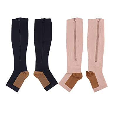 90891ffc03 MagiDeal 2 Pairs Adult Women Men Copper Compression Socks Leg Support Open  Toe Zipper Stockings - Black Skin Color XXL: Amazon.in: Clothing &  Accessories