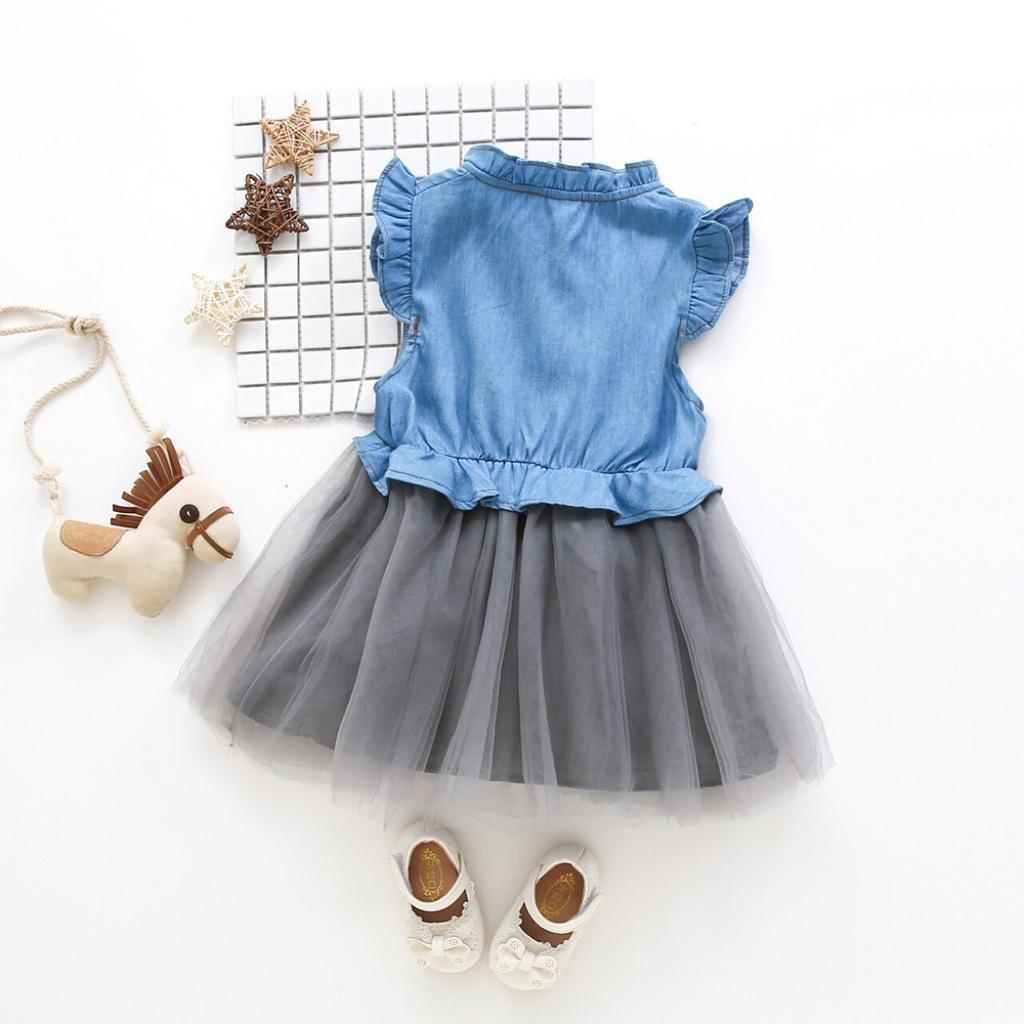 Summer Sleeveless Denim Dresses Princess Tutu Dresses Clothes for Kids Toddler Baby Girl Vicbovo Little Girl Dress
