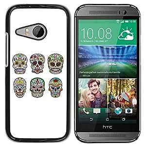 For HTC ONE MINI 2 / M8 MINI - Cool Sugar Skull Skeleton /Modelo de la piel protectora de la cubierta del caso/ - Super Marley Shop -