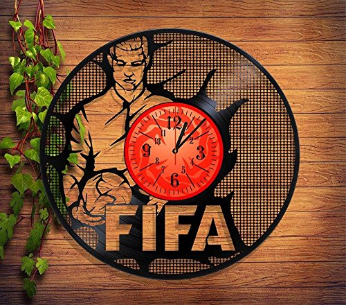 Price comparison product image FIFA Handmade Vinyl Record Wall Clock - Get unique home room wall decor - Gift ideas for parents,  teens – SPORT SOCCER FOOTBALL Unique Modern Art