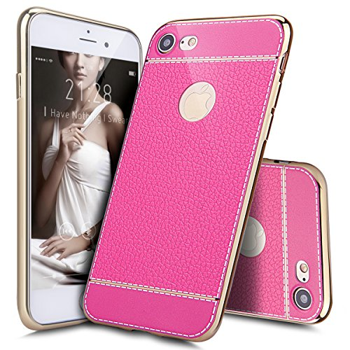 Price comparison product image iPhone 8 Plus Case, iPhone 7 Plus Case, ikasus iPhone 8 Plus Cover PU Leather Shock-Absorption Bumper Hybrid Slim Fit Electroplate Plating Rubber Silicone Back Case Cover for iPhone 8 Plus / 7 Plus, Pink