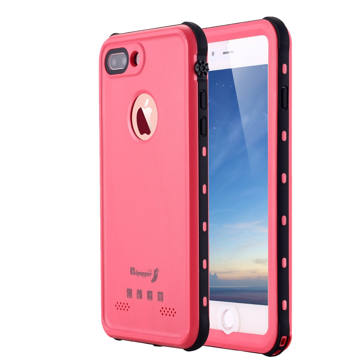 iPhone 8 Plus Waterproof Case,iPhone 7 Plus Waterproof Case, LONTECT IP-68 Waterproof Shockproof Dust Proof Snow Proof Full Body Protective Case Cover for Apple iPhone 8 Plus/ 7 Plus 5.5 inch (Pink)