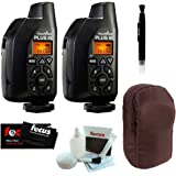 PocketWizard Plus III Transceivers (801-130), 2-Pack for Remote Flash Triggering, + Case and Cleaning Kit Bonus Bundle