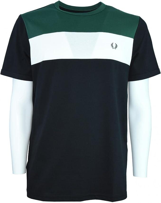 Fred Perry camiseta de manga corta 102 M2544 XS Nero Verde Bianco ...