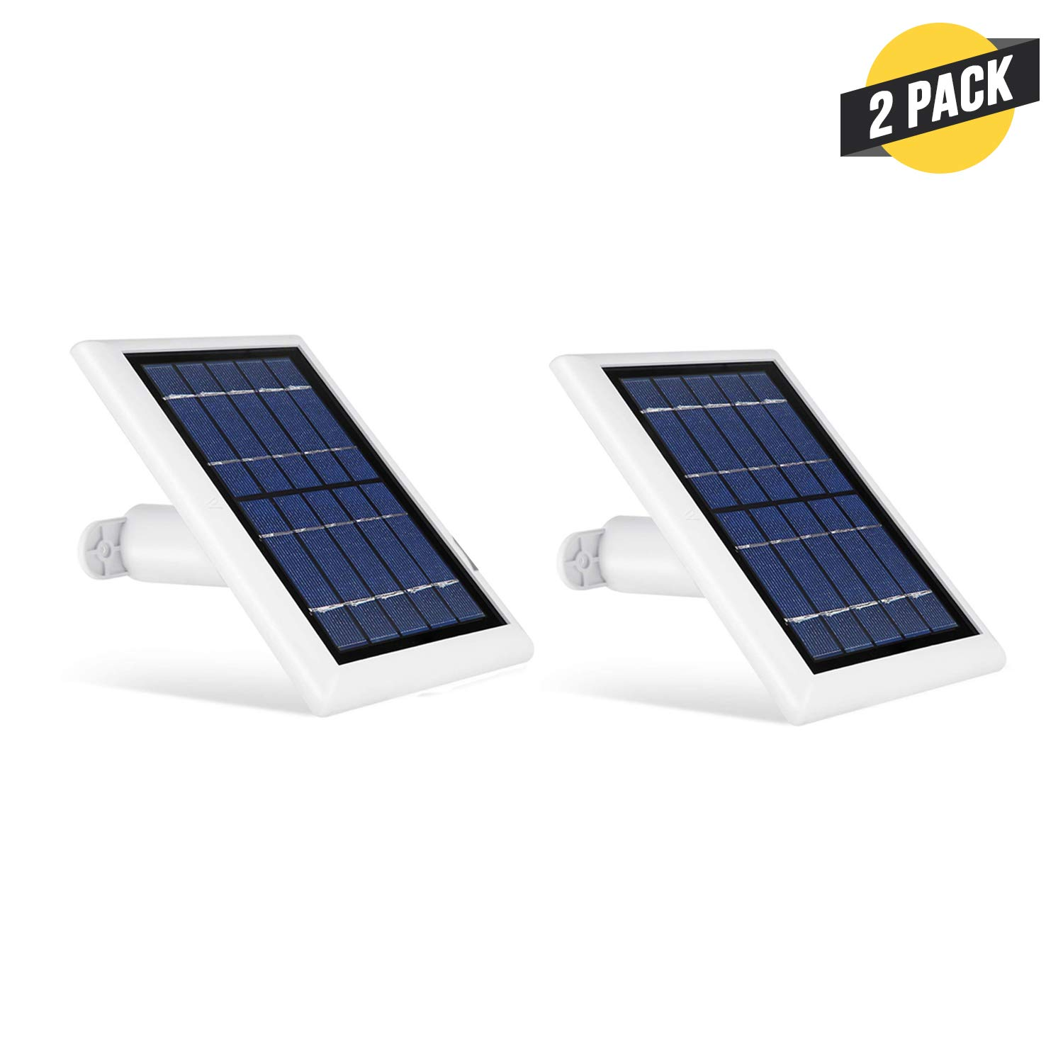 Wasserstein Solar Panel Compatible with Ring Spotlight Cam Battery & Ring Stick Up Cam Battery (2 Pack, White) by Wasserstein