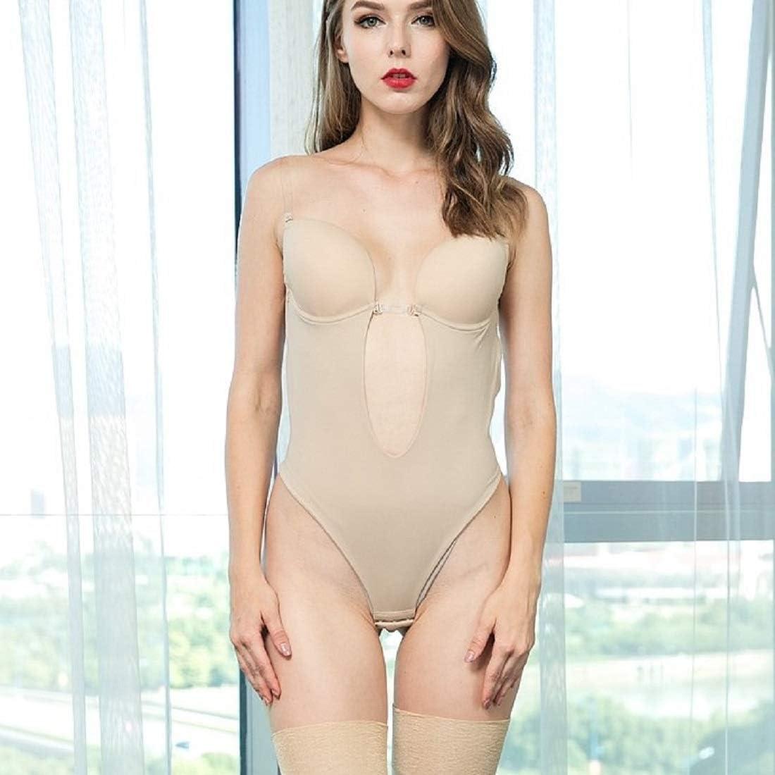 Womens Plunging V-Neck Clear Straps Bodysuit Backless Bridal Underwear Body Shaper Underwear for Party//Wedding