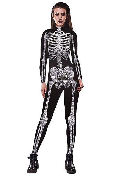 Goflic Womens Skeleton Bones Cosplay Costume di Halloween Fancy Play  Catsuit tuta Tuta  Amazon.it  Abbigliamento a8b408490aa9