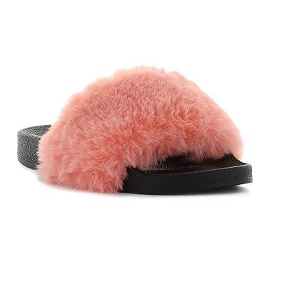 4a44b9937254 Seven7 Women s Davinci Faux Fur Pool Slide Sandal Coral 10