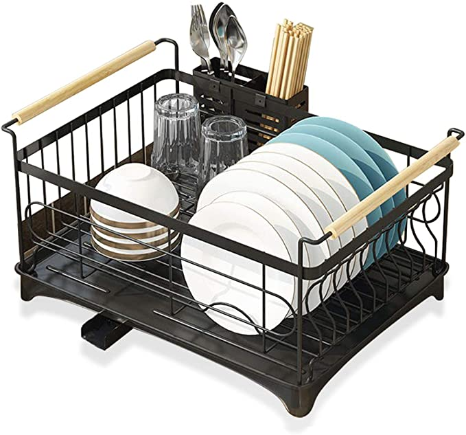 Brian Dany Dish Drying Rack With Drip Tray Stainless Steel Dish Drainer With Wooden Handles And Removable Cutlery Holder 47 32 23 Cm Black Amazon Co Uk Kitchen Home