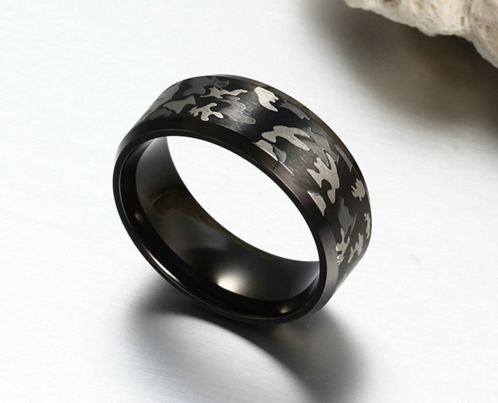 Bishilin 8MM Stainless Steel Thi Color Camouflage Anniversary Rings Gift For Lovers