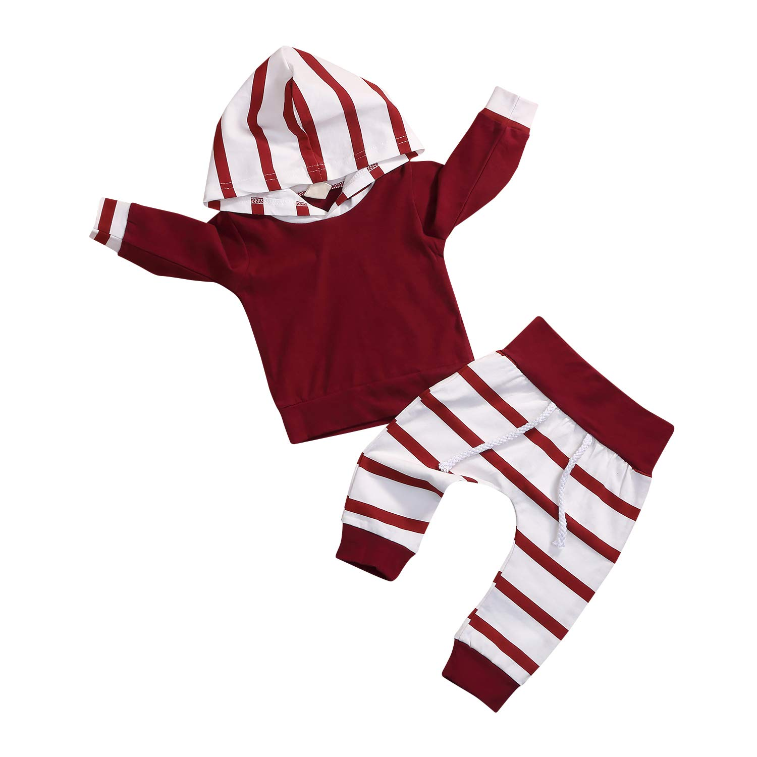 eb374690f ... and not irritative baby\'s skin. Both hand wash and machine wash is OK.  ♥❤ Design: Gender neutral. Long sleeve hooded top and striped Long trousers  ...
