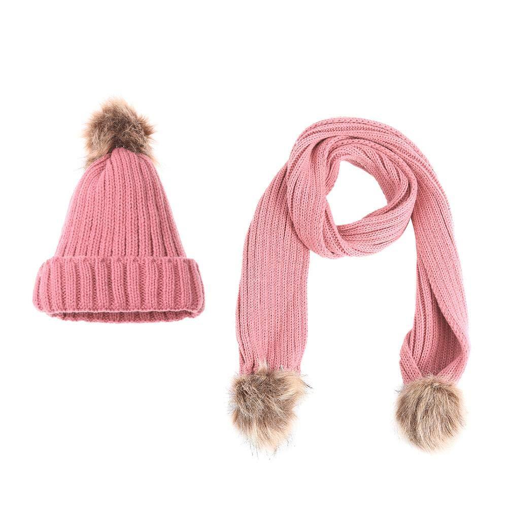 2pcs Children Girls Cute Pompom Winter Warm Hats Scarf Set