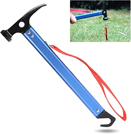 Multifunction Camping Hammer Extractor Puller Portable for Tent Pegs Outdoor