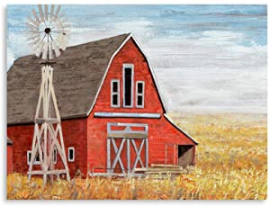 B BLINGBLING Farmhouse Bathroom Decoration Vintage Room-Decor: Old Barn Windmill Wall Art Canvas Giclee Print Wrapped & Ready to Hang (24x32in)