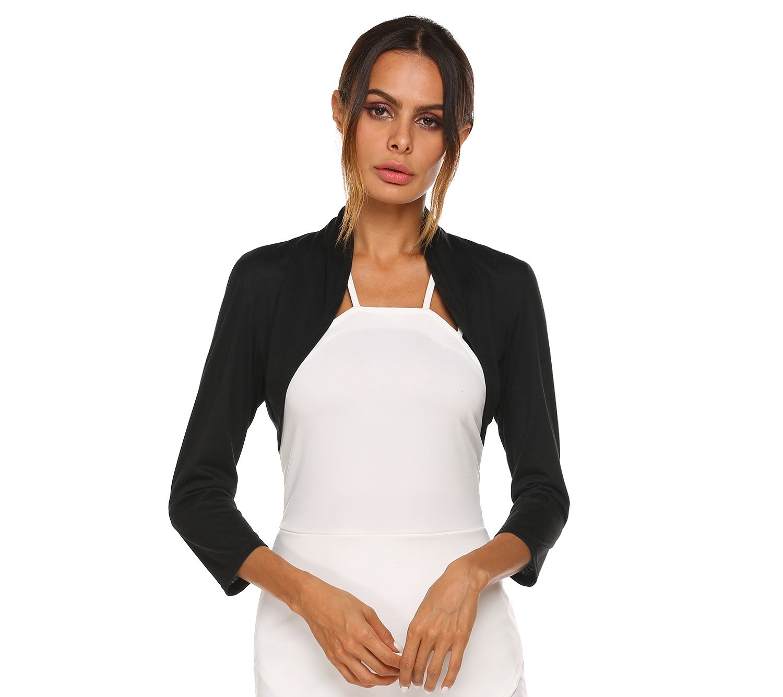 SE MIU Women Solid Long Sleeve Spring Fall Open Cotton Shrug, Black, M
