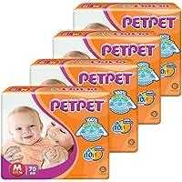PET PET Jumbo Tape Diapers M, 70 Count (Pack of 4)