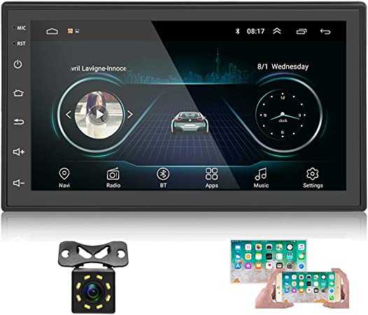 Amazon Com Double Din Android Car Stereo With Gps 7 Inch Capacitance Touch Screen Fm Radio Reciever Supports Mirror Link For Ios Android Phones Wifi Connect Backup Camera Gps Navigation