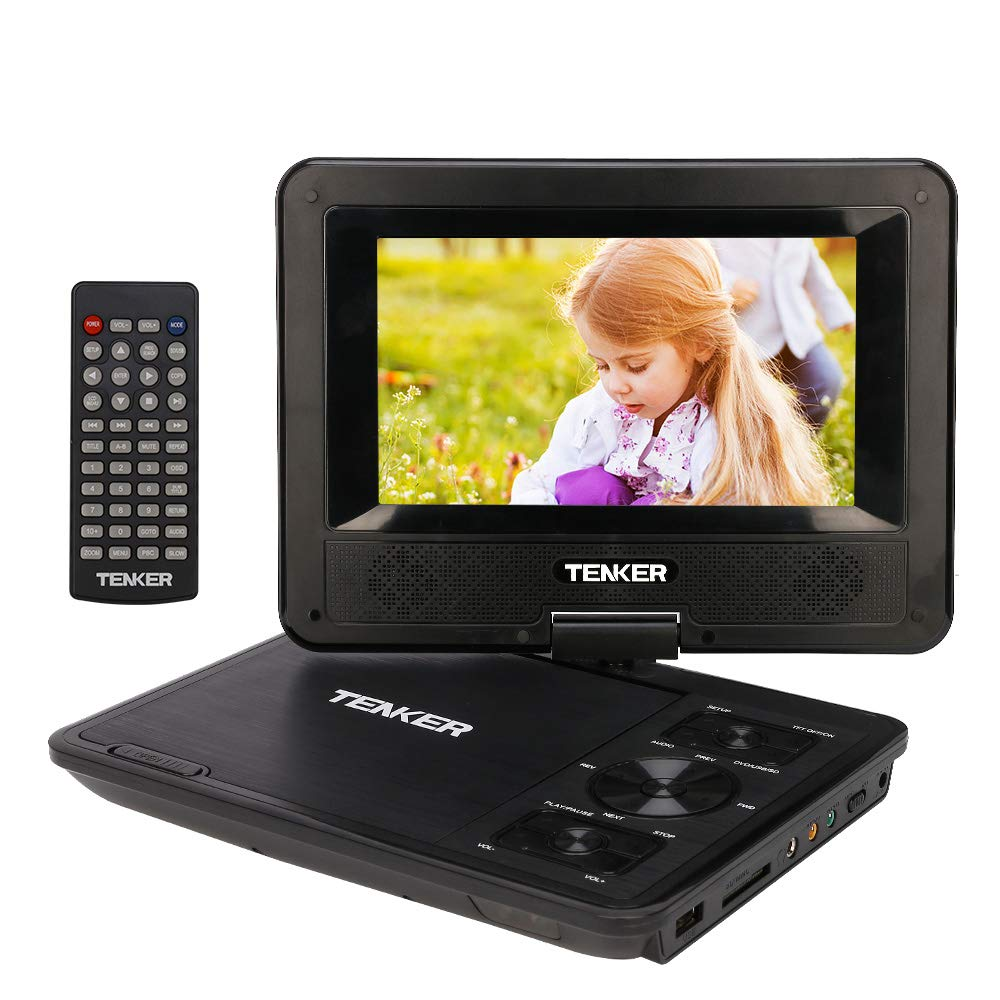 TENKER [Upgraded Version] Portable DVD Player with 7.5'' Swivel Screen, Built-in Rechargeable Battery and SD Card Slot & USB Port