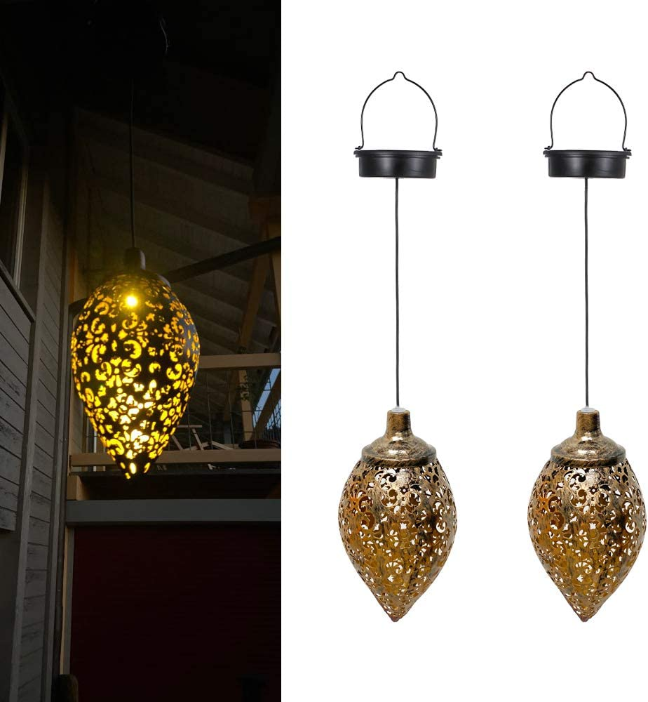 ORYX Hanging Solar Lights Outdoor, Moroccan Lantern Lamp Lights, Garden Decor for Outdoor Chandelier Waterproof Solar Hanging Lights Camping Lawn Walkway Outside Patio Yard Park Decorations(2 Pcs)