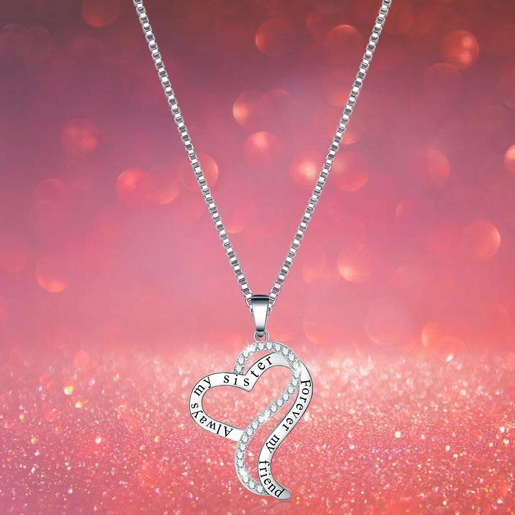0330edc3ec Buy Sis Birthday Gifts - 'Always My Sister Forever My Friend' Love Heart Pendant  Necklace - Fashion Jewelry for Women Girls - Anniversary Present for Her ...