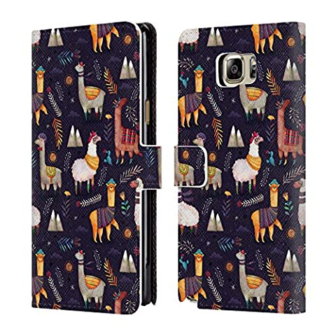 Official Oilikki Llamas Animal Patterns Leather Book Wallet Case Cover For Samsung Galaxy Note5 / Note (Ipod 5 Llama Case)