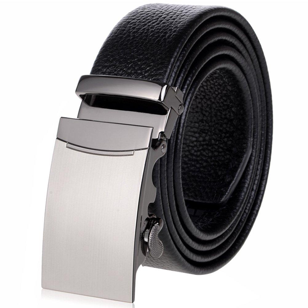 Vbiger Fashion Men's Ratchet Belt Automatic Buckle Full Grain Genuine Leather 35mm Wide (Black 14)