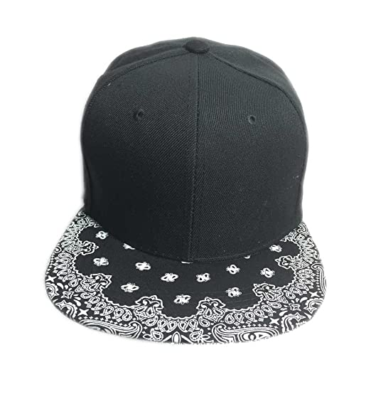 Aesthetinc Classic Paisley Bandana Print Flat Bill Cap Hat Snapback (Black) fbcc42bd9b6b
