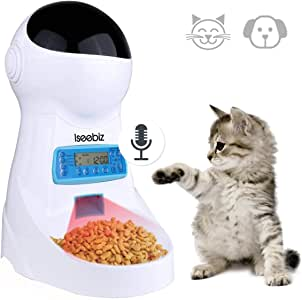 Automatic Cat Feeder Iseebiz 3L Pet Food Dispenser Feeder for Medium and Large Cat Dog--4 Meal, Voice Recorder and Timer Programmable,Portion Control