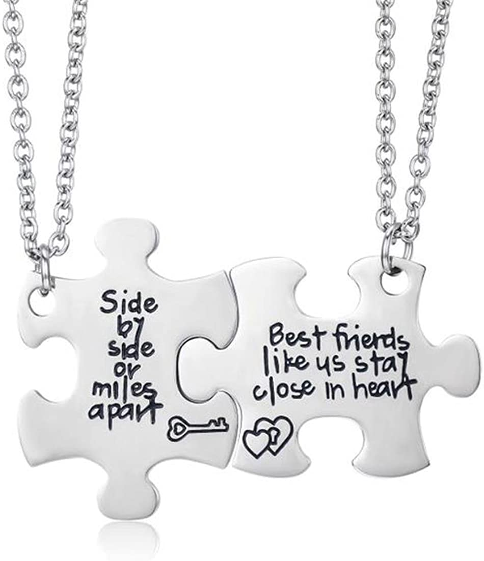 Fashion Jewelry ~ Best Friends Necklaces Set of 2 Silvertone Best Friends Necklace