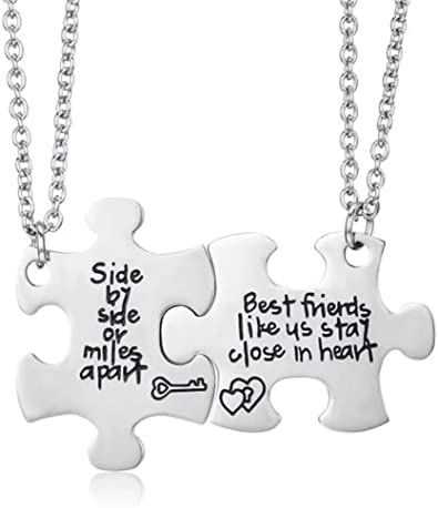 Amazon Com Udobuy2 Pcs Best Friends Side By Side Or Miles Apart Best Friend Necklaces Set Heart For Teen Girls Bff Friendship Necklaces Pizza Friend Necklace Jewelry