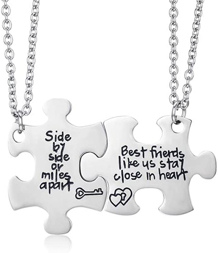 Udobuy2 Pcs Best Friends Side by Side Or Miles Apart Best Friend Necklaces