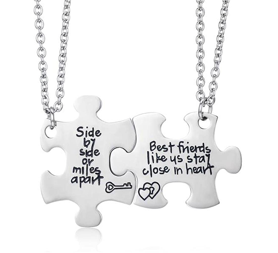 Udobuy2 Pcs Best Friends Side By Side Or Miles Apart Best Friend Necklaces Set Heart Best Friend Gifts for Teen Girls BFF Friendship Necklaces (Pizza Friend Necklace) UO-NE008-best friend necklace