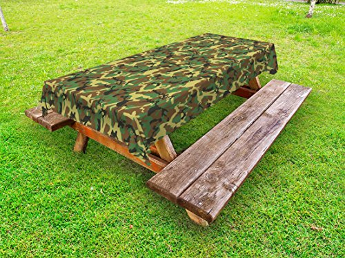 Woodland Camouflage Accents - Ambesonne Camo Outdoor Tablecloth, Woodland Camouflage Pattern Abstract Concealment Hiding in Jungle, Decorative Washable Picnic Table Cloth, 58 X 120 Inches, Green Brown