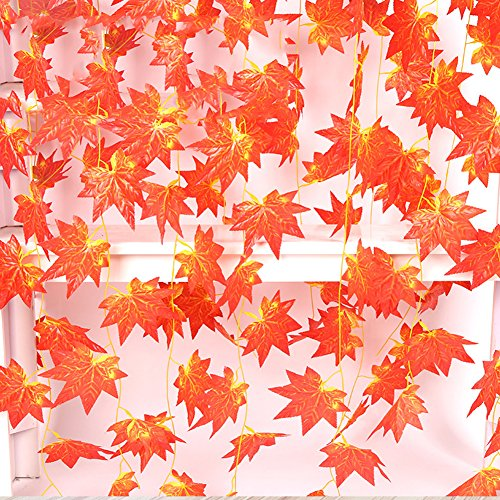Artificial Autumn Maple Leaves Vine,JUSTOYOU 12 pack 98Ft Silk Red Fall Leaf Garland Plants Hanging Rattan Fences Windows Wall Decoration Wholesale Home Party Ceremony Christmas Hallowmas Wedding
