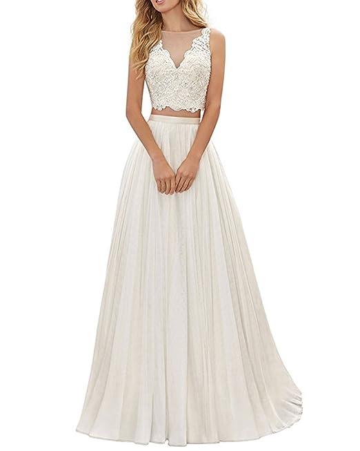 ANJURUISI Mujeres de encaje rebordeado 2 piezas de largo vestido de novia vestido de playa de la boda: Amazon.es: Ropa y accesorios