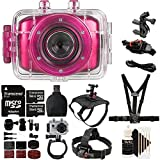 Vivitar DVR781HD HD Waterproof Action Video Camera Camcorder Pink with Ultimate Accessory Kit