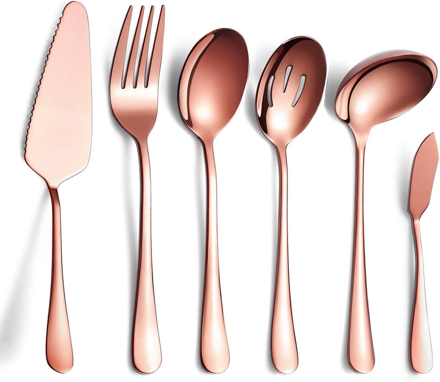 6-Piece Copper Serving Flatware Silverware Set,Stainless Steel Serving Utensil Set,Include Cake Server, Slotted Serving Spoon, Serving Spoon, Cold Meat Fork, Butter Knife, Soup Ladle
