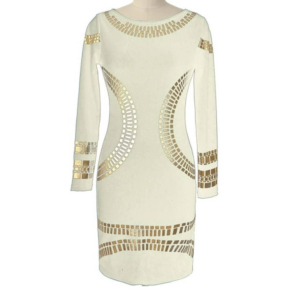 Women's Retro Gilded Printed Empire Waist Slim Pencil Dress