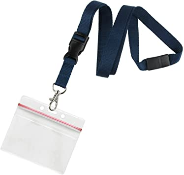 Blue Lanyard  for ID Card Holder Zip Lock vertical Horizontal Badge Strap