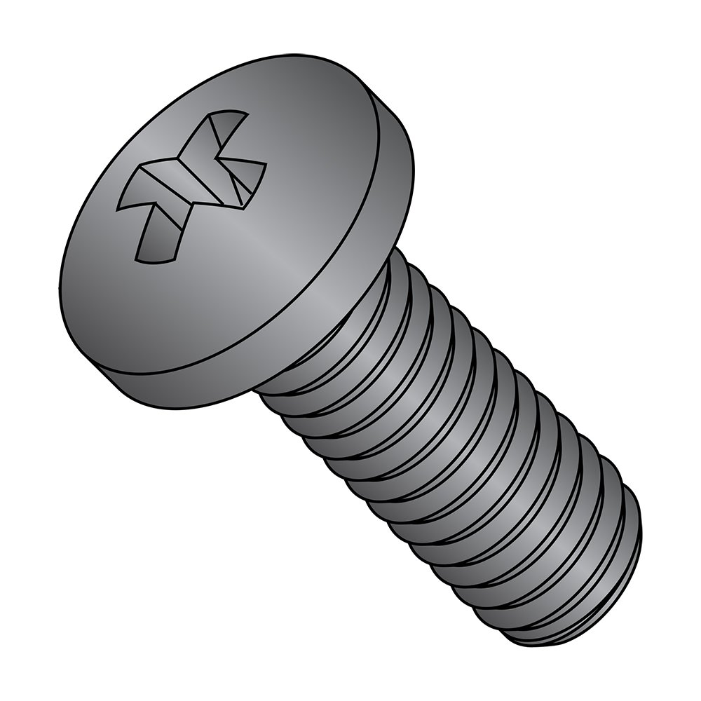 Pan Head Fully Threaded 1 Length Phillips Drive Black Oxide Finish #6-32 UNC Threads Pack of 50 18-8 Stainless Steel Machine Screw Meets ASME B18.6.3