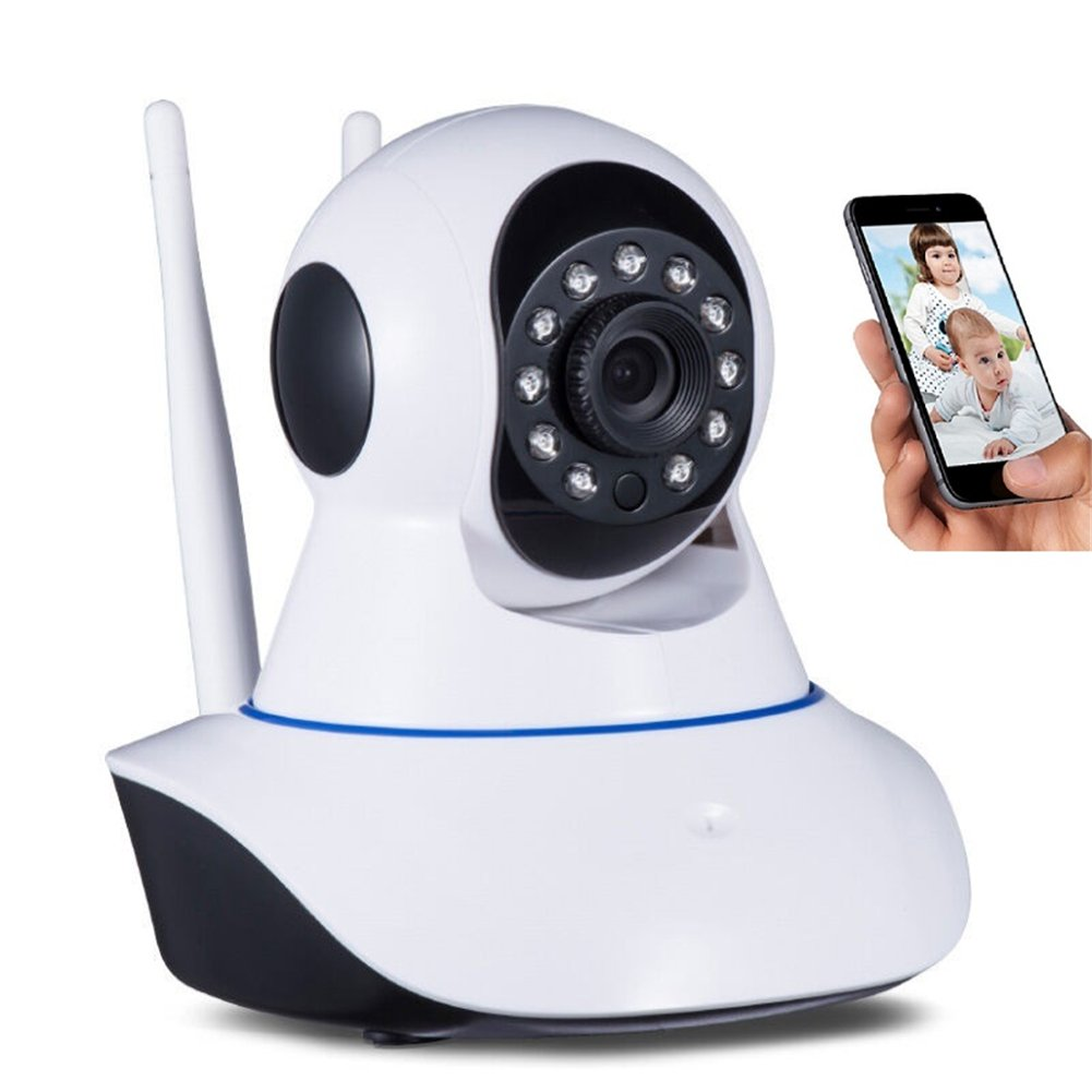 IP Wifi Camera,Hd 960P Dual Antenna Wireless Indoor Network 2-Way Audio,P2P Night Vision Surveillance Monitor Camera,Rotatable Video Remote Control View Via Smart Phone for Security Home Office(White)