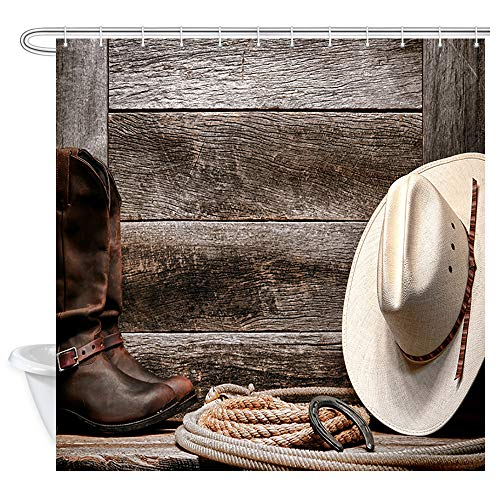 DYNH Cowboy Shower Curtains, Cowboy Hats and Riding Boots, Gray Boards, Ropes and Horseshoes Bath Curtain, Polyester Fabric Bathroom Curtain with 12 Hooks, 69X70 Inches