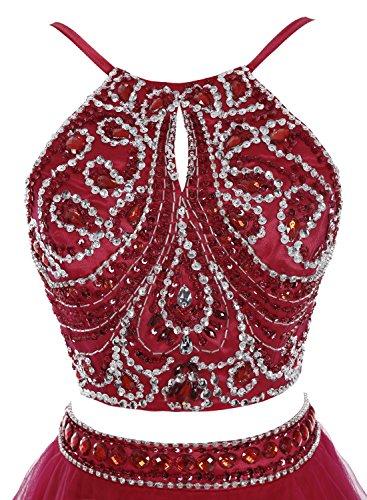 Bbonlinedress Mujer Vestido Largo Fiesta Cóctel Noche Dos Piezas Halter Con Cuentas Rosa