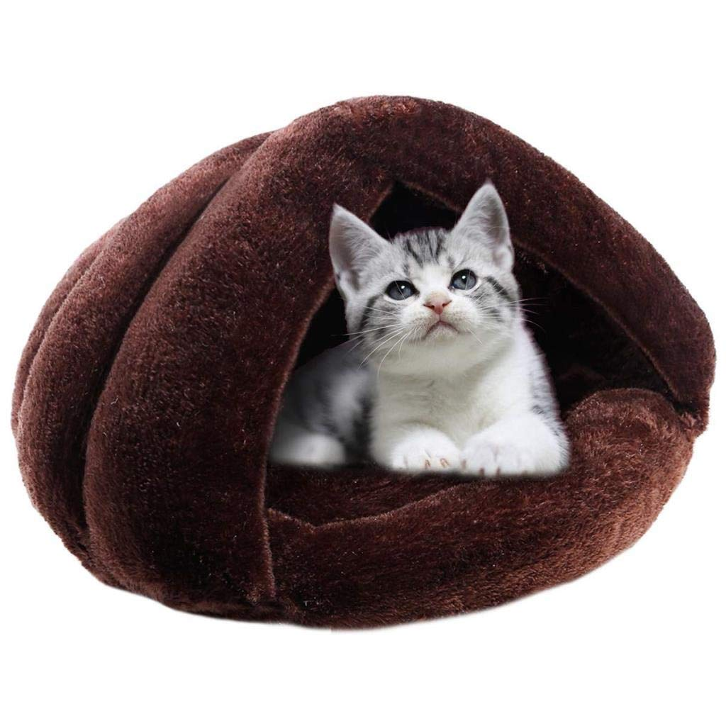 Coffee Pet Nest, Plush Cave for Kittens and Puppies, Conch Warm Home (Brown, 50cmx30cm) (color   Coffee)