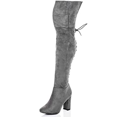 d31d7a8da52b Spylovebuy Lace UP Block Heel Over Knee Tall Boots Grey Suede Style SZ 5