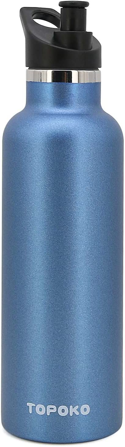 TOPOKO 25 OZ Hydro Double Wall Flask Stainless Steel Water Bottle, Bite Valve Top, Vacuum Insulated, Sweat Proof, Leak Proof Sports Thermos. Standard Mouth 25oz, BPA-Free, Keep Cold 24 Hours