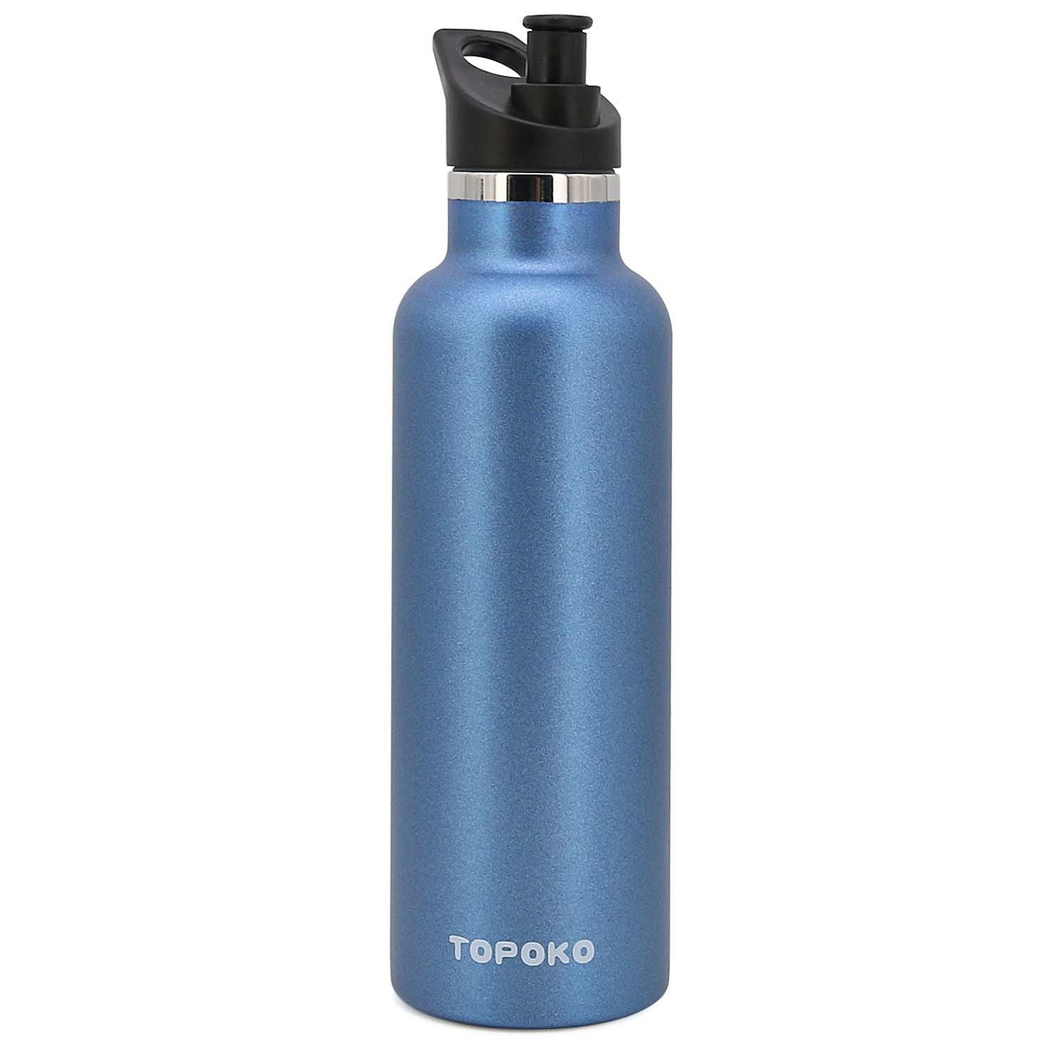 TOPOKO 25 OZ Double Wall Stainless Steel Water Bottle, Straw Lid with Handle or Bite Valve Top, Vacuum Insulated, Sweat Proof, Leak Proof Thermos Standard Mouth. (Blue)