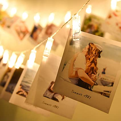 Artworks Christmas Cards.Amazon Com Iloving Photo Clips String Lights Indoor Fairy